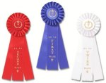 Ribbons-Classic Three Streamer Rosette Award Ribbon Basketball Trophy Awards