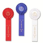 Ribbons-Classic Single Streamer Rosette Award Ribbon Gymnastics Trophy Awards
