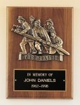 Fireman Plaque with Antique Bronze Finish Casting. Patriotic Awards