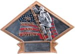 Firefighter - Diamond Plate Resin Trophy Patriotic Awards